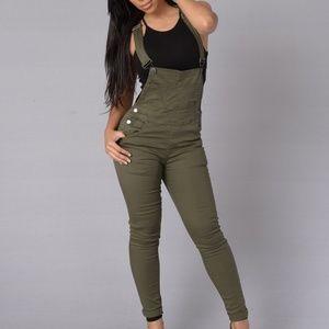 Denim - NWOT Olive Green Skinny Leg Overalls